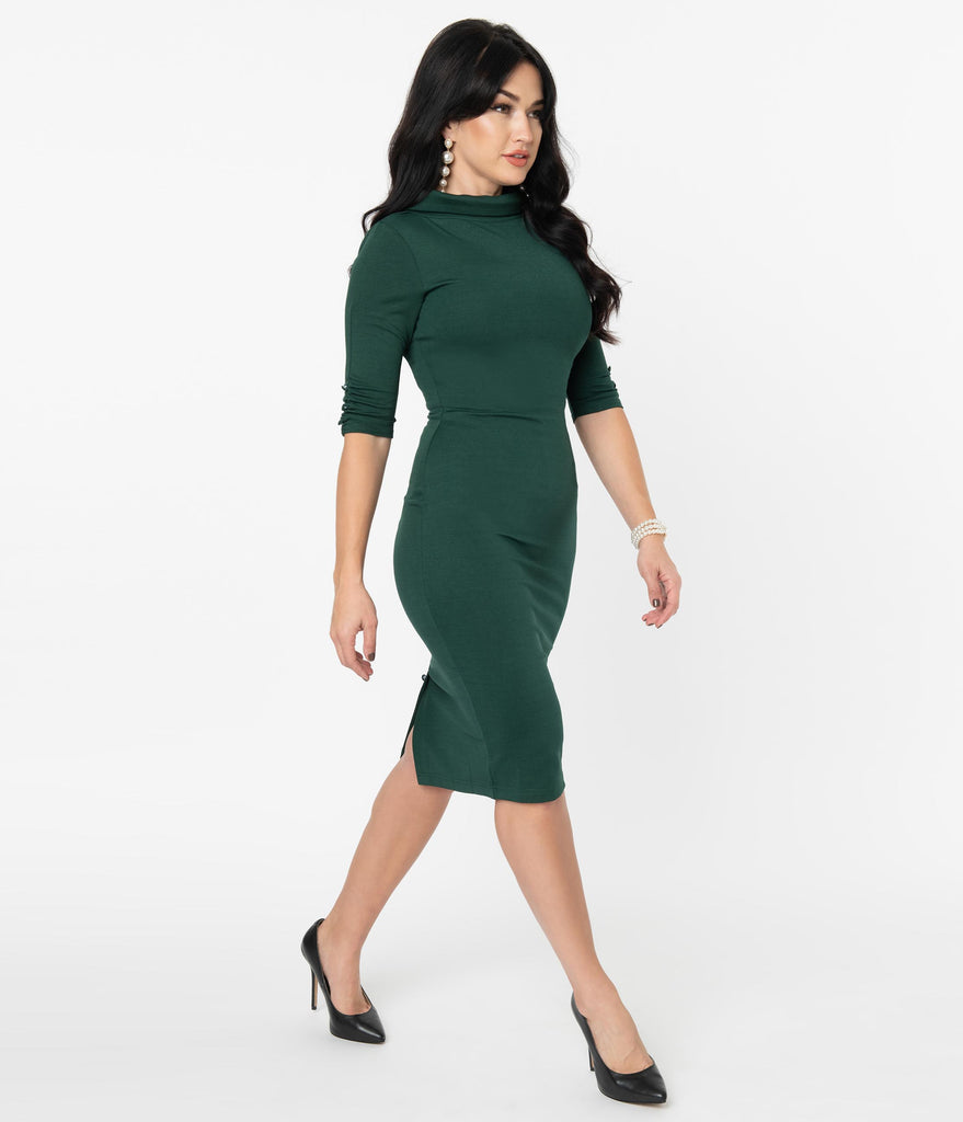 Unique Vintage 1960s Retro Forest Green Cassidy Wiggle Dress