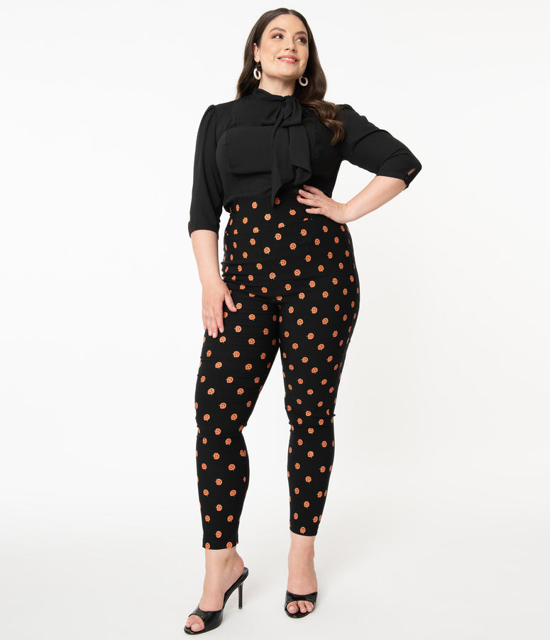 Unique Vintage Plus Size Black & Orange Pumpkin Patch Rizzo Cigarette Pants