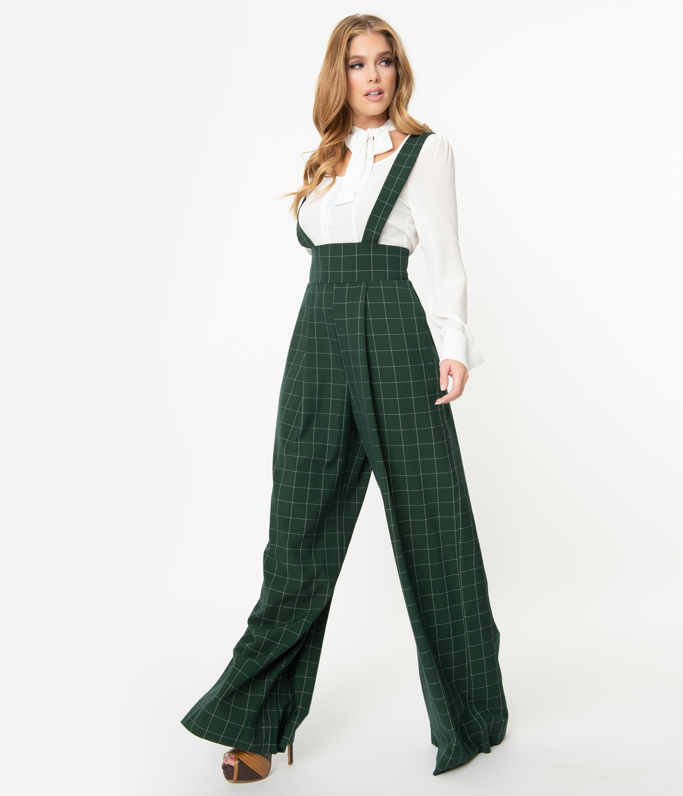 Vintage Overalls 1910s -1950s History & Shop Overalls Unique Vintage Emerald Windowpane Rochelle Suspender Pants $64.00 AT vintagedancer.com