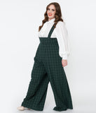 Unique Vintage Plus Size Emerald Windowpane Rochelle Suspender Pants