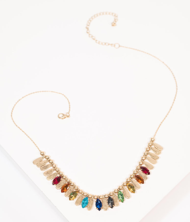 Gold & Rainbow Rhinestone Necklace