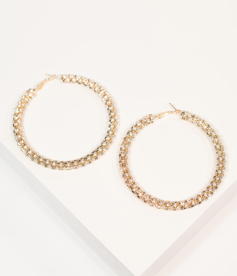 Retro Style Golden & Silver Rhinestones Hoop Earrings