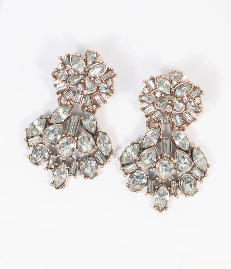 Deco Style Gold & Silver Rhinestone Drop Earrings