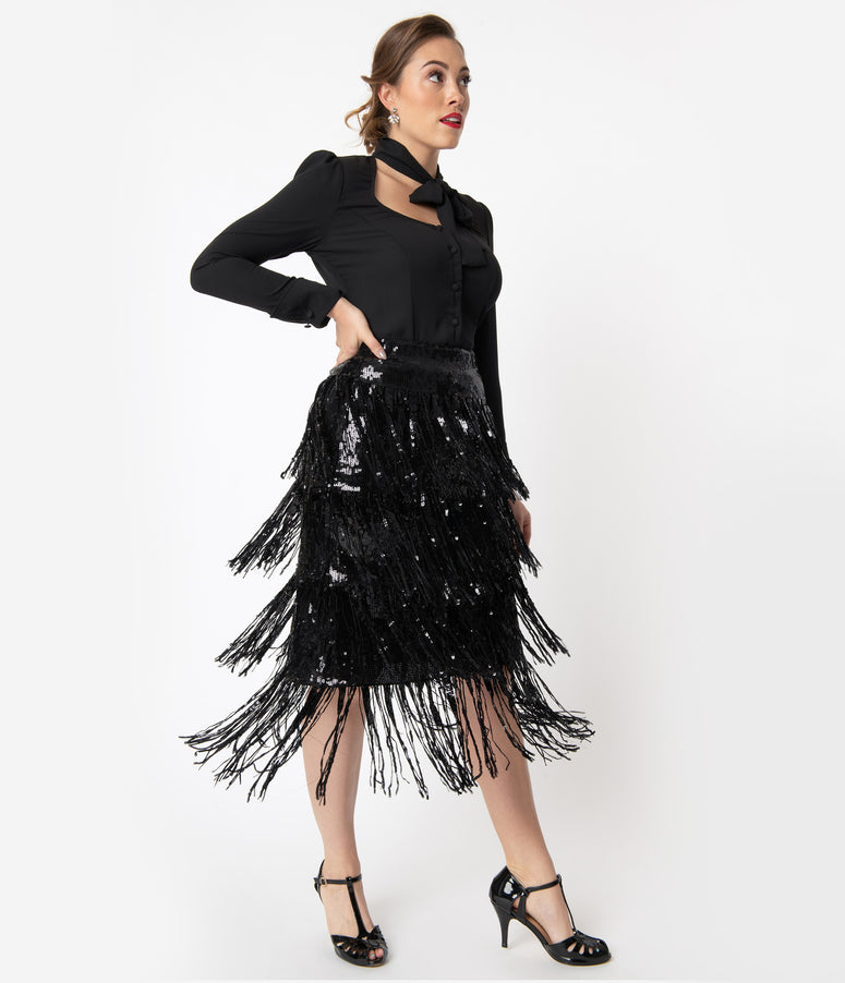 Black Sequin & Fringe Tiered Skirt