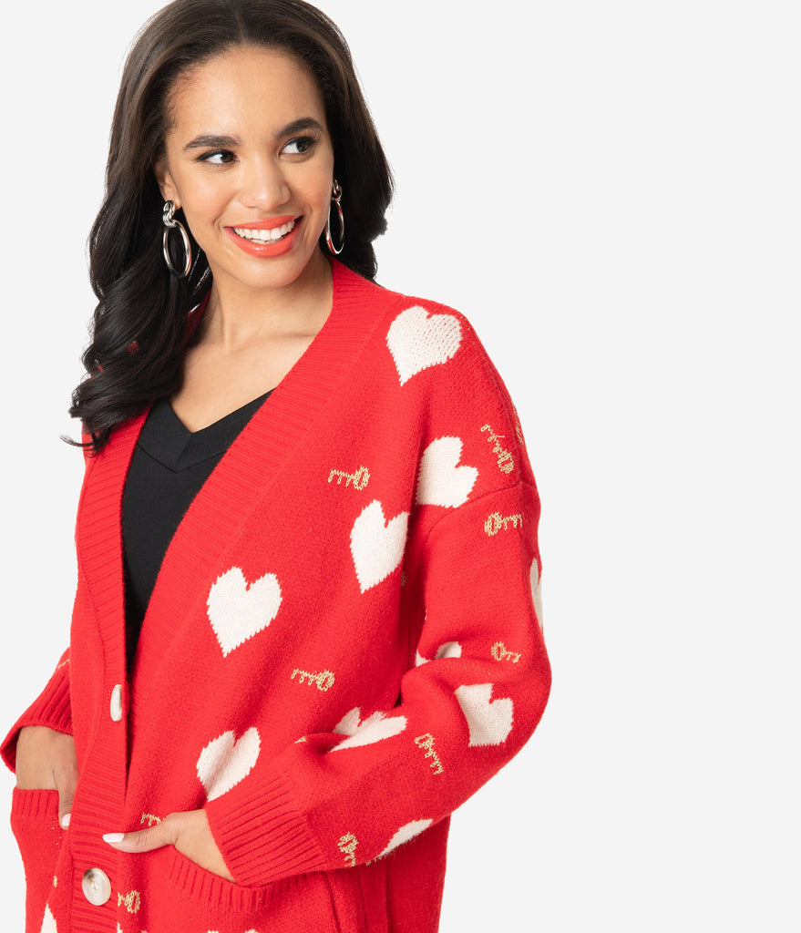 Red Keys To The Heart Sweater Cardigan