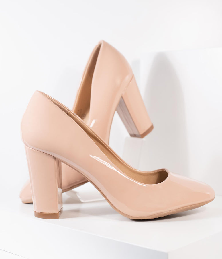 Blush Pink Patent Leatherette Block Heel Pumps