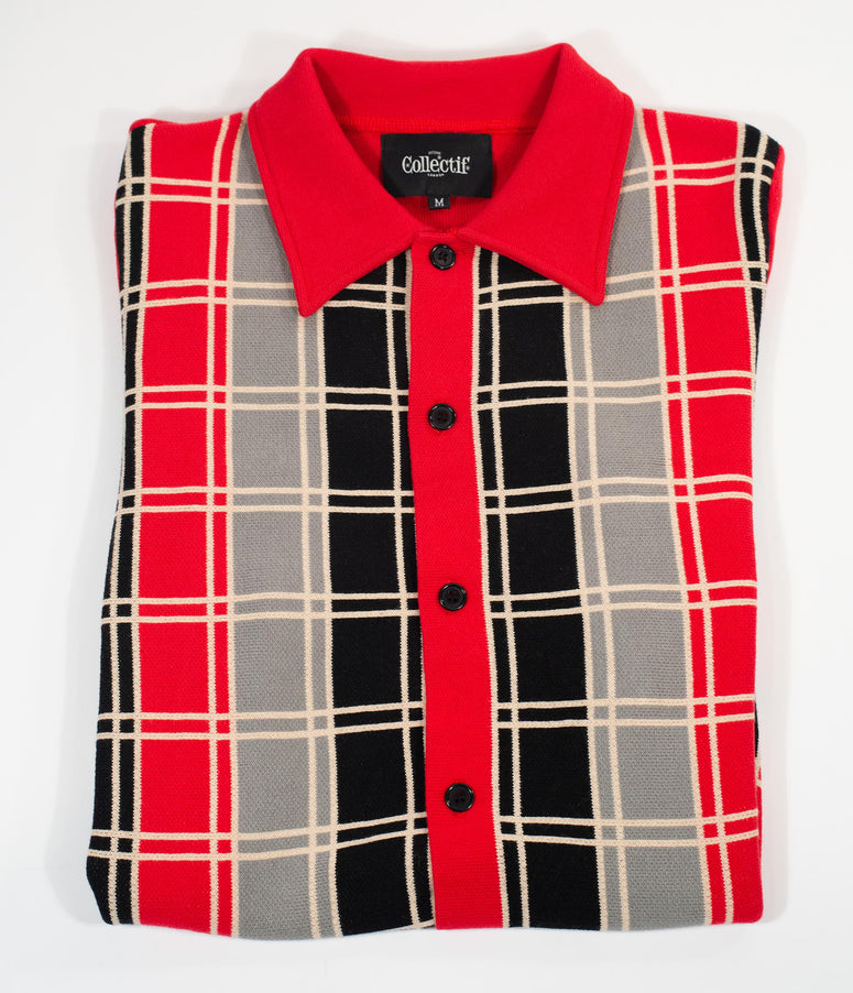 Collectif 1960s Red & Black Luca Check Knit Mens Cardigan