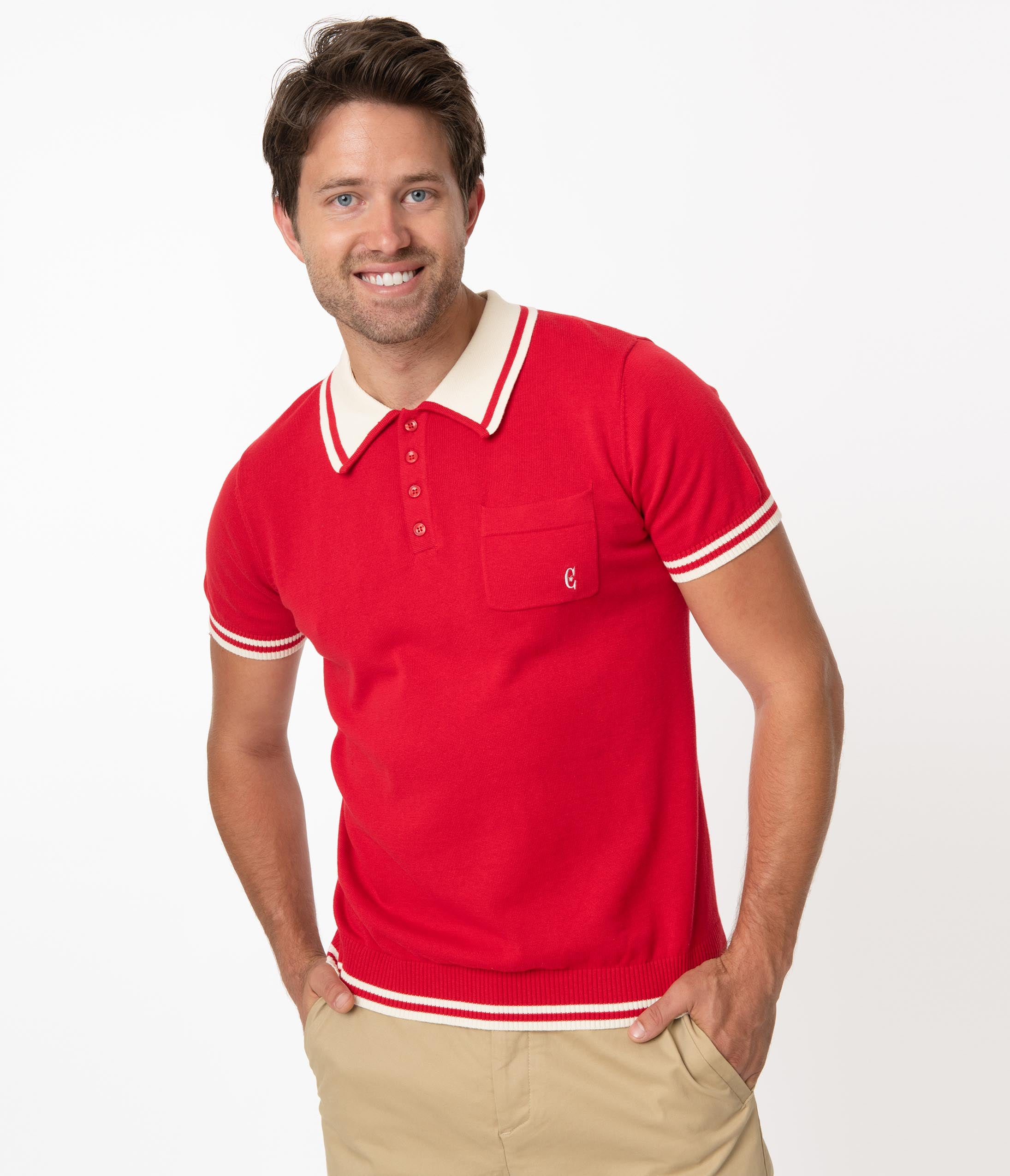 1960s Men's Clothing Collectif 1950S Retro Red Peru Knit Mens Polo Shirt $64.00 AT vintagedancer.com