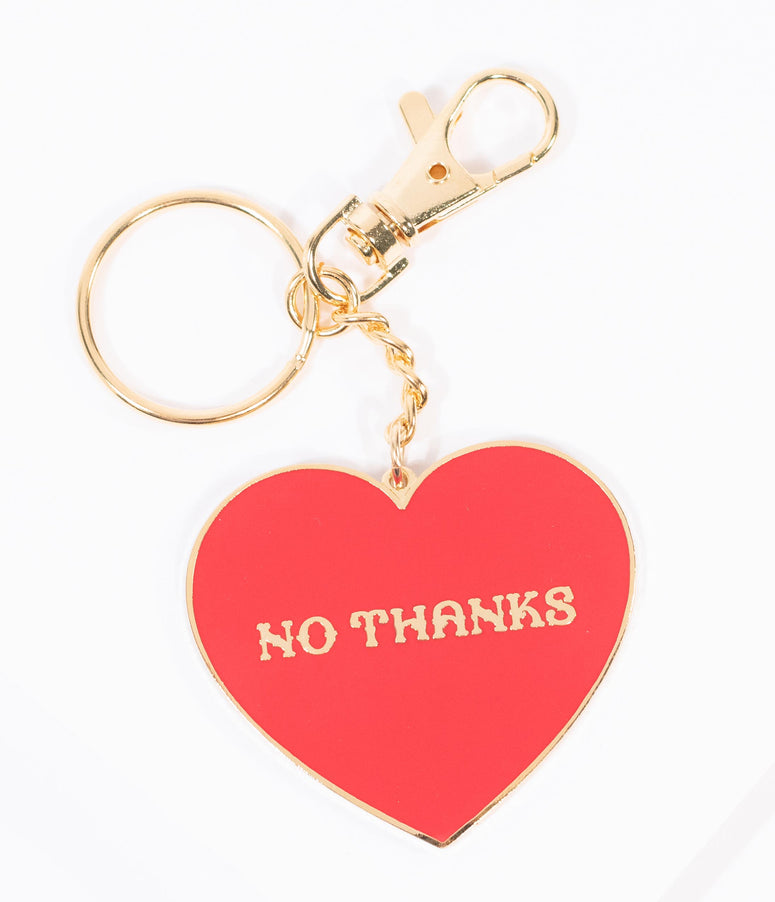 Red Heart No Thanks Keychain