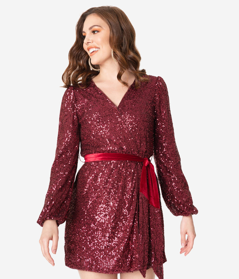 Burgundy Sequin Wrap Front Dress