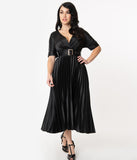 Vintage Style Black Pleated Satin Long Dress