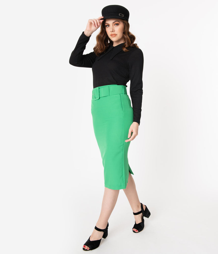 Retro Style Kelly Green Belted Pencil Skirt