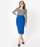 Retro Style Royal Blue Belted Pencil Skirt