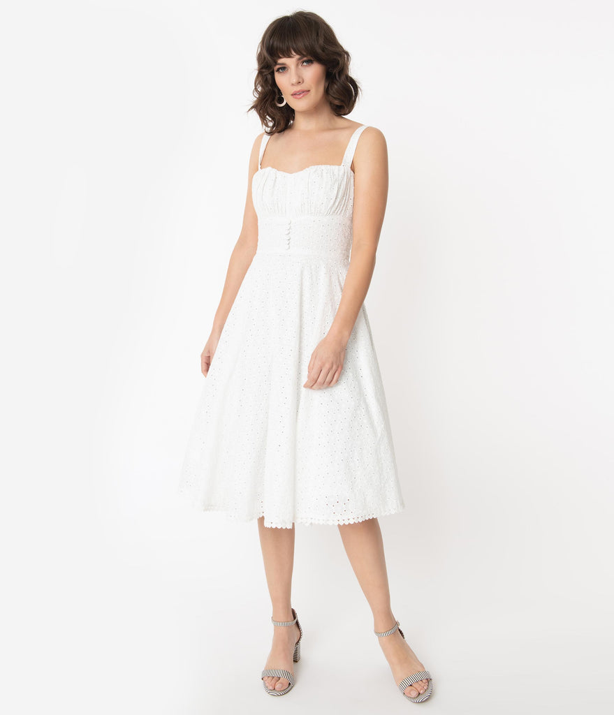 Vintage Style White Floral Eyelet Sydney Swing Dress