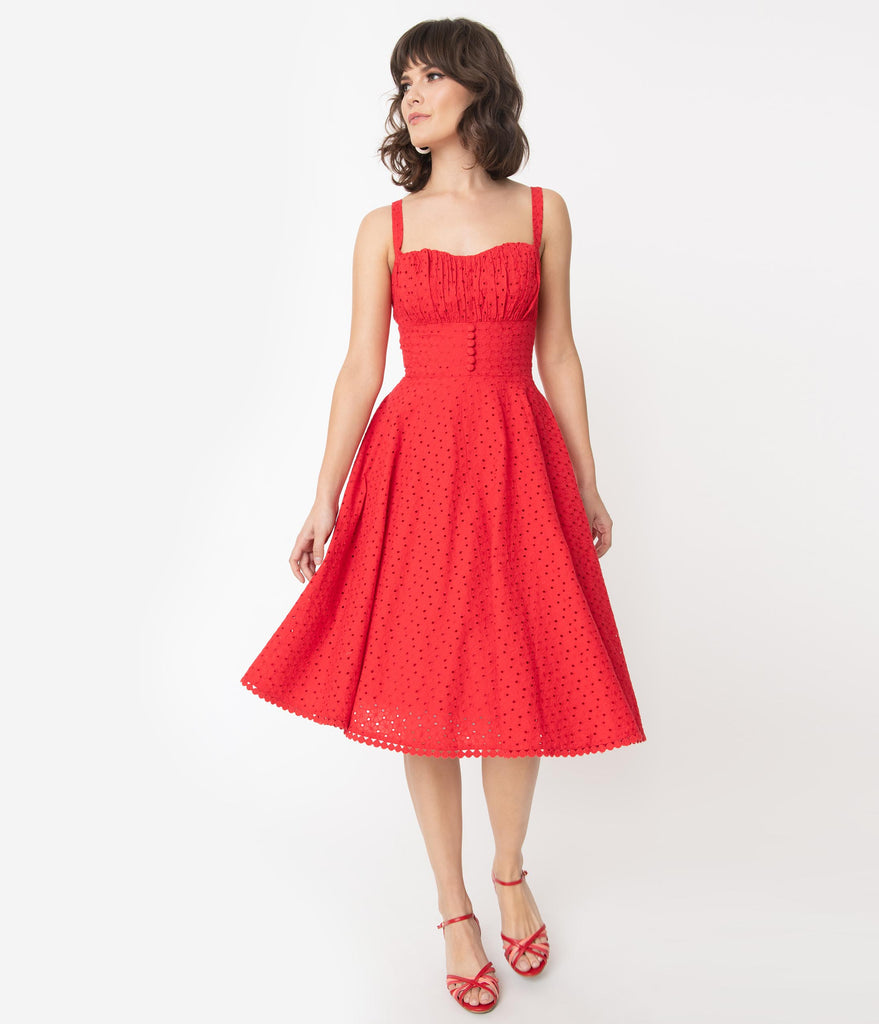 Vintage Style Red Floral Eyelet Valerie Swing Dress