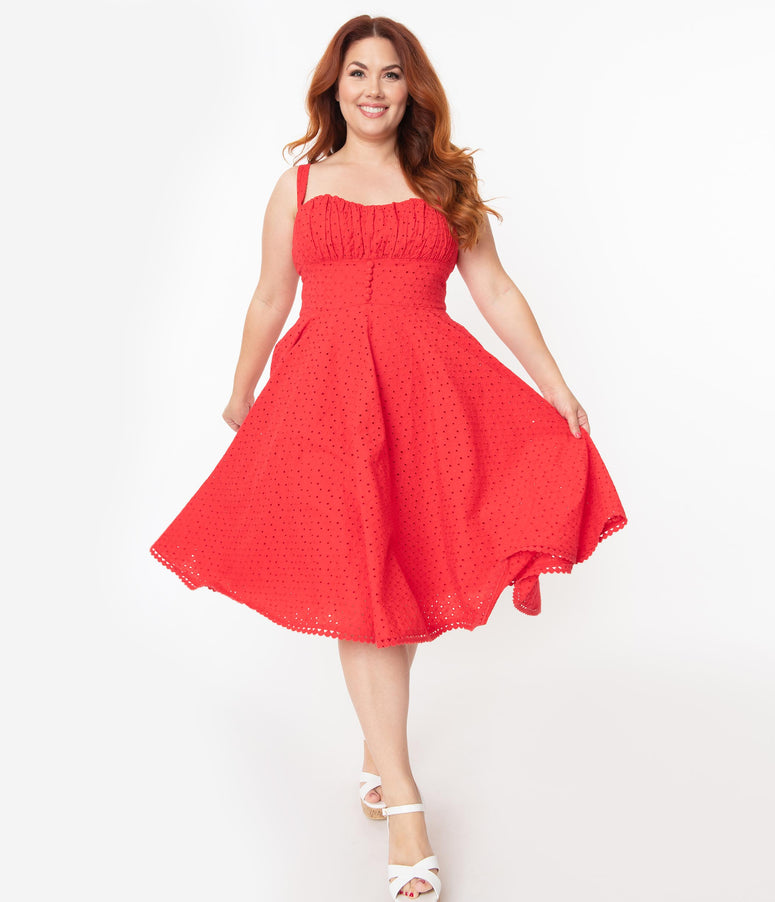 Plus Size Vintage Style Red Floral Eyelet Valerie Swing Dress