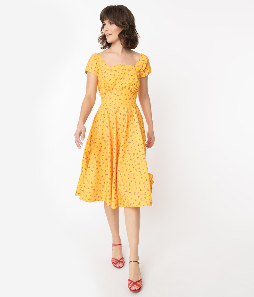 Marigold & Pink Dainty Floral Aaliyah Swing Dress
