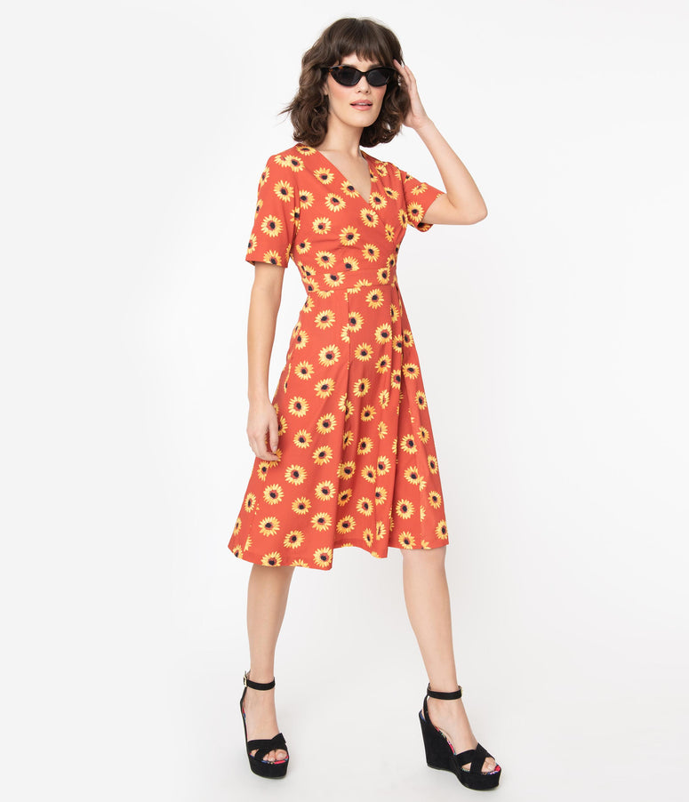Rust & Yellow Sunflower Print Stephanie Swing Dress