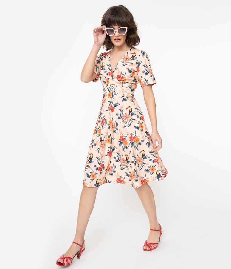 Blush & Multicolor Tropical Floral Piper Swing Dress