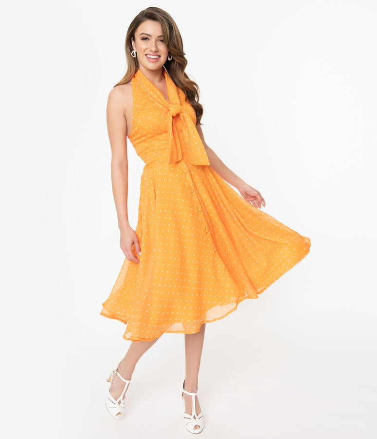 Tangerine & Ivory Pin Dot Halter Trinity Swing Dress