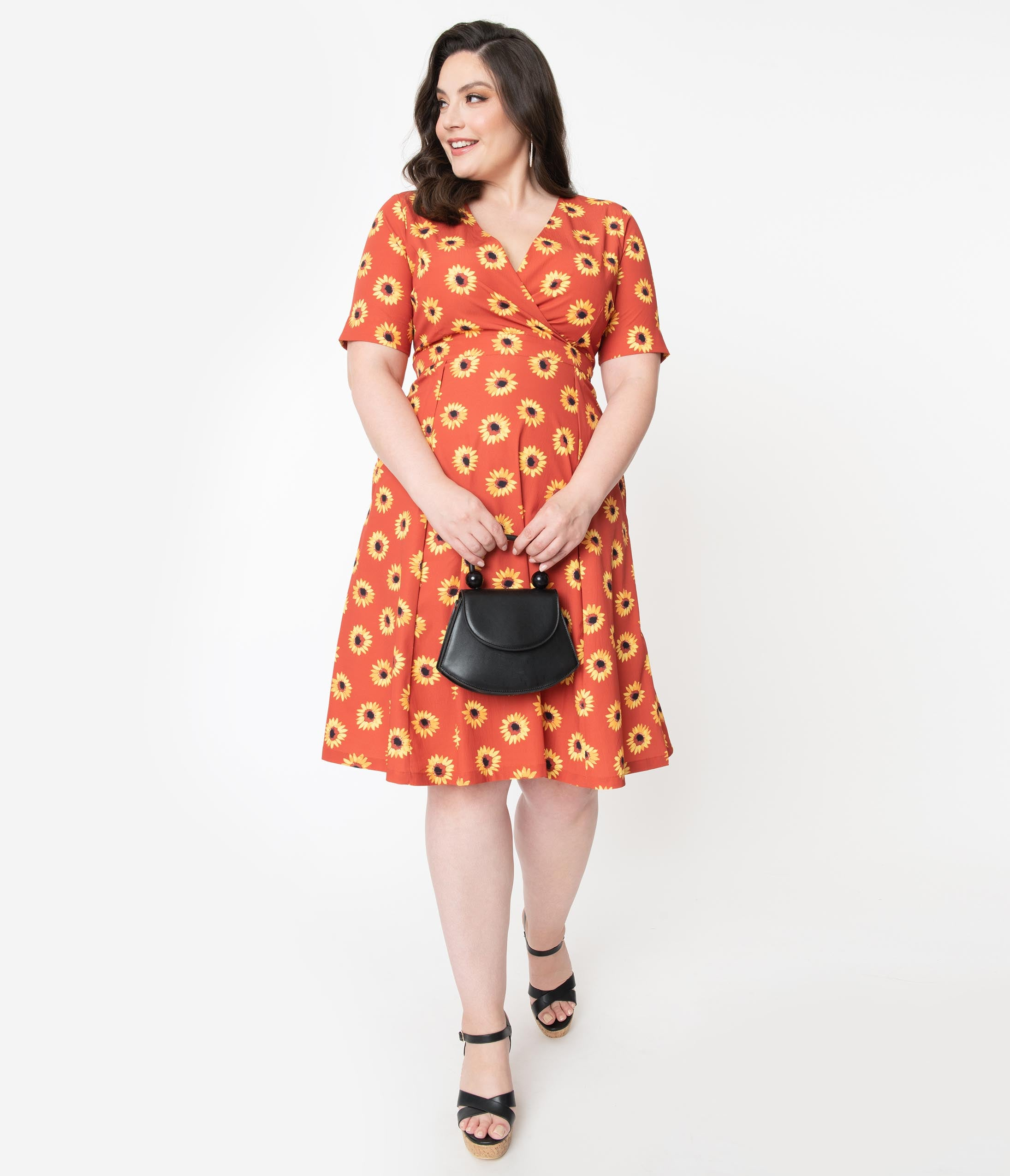 60s 70s Plus Size Dresses, Clothing, Costumes Plus Size Rust  Yellow Sunflower Print Stephanie Swing Dress $78.00 AT vintagedancer.com