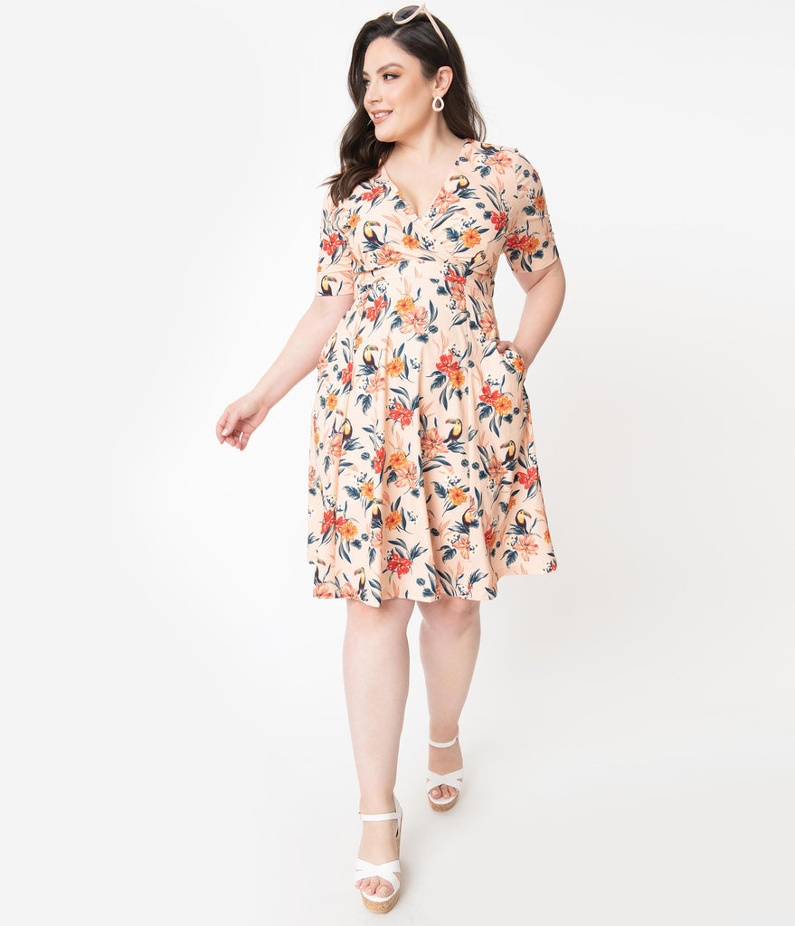 Plus Size Blush & Multicolor Tropical Floral Piper Swing Dress