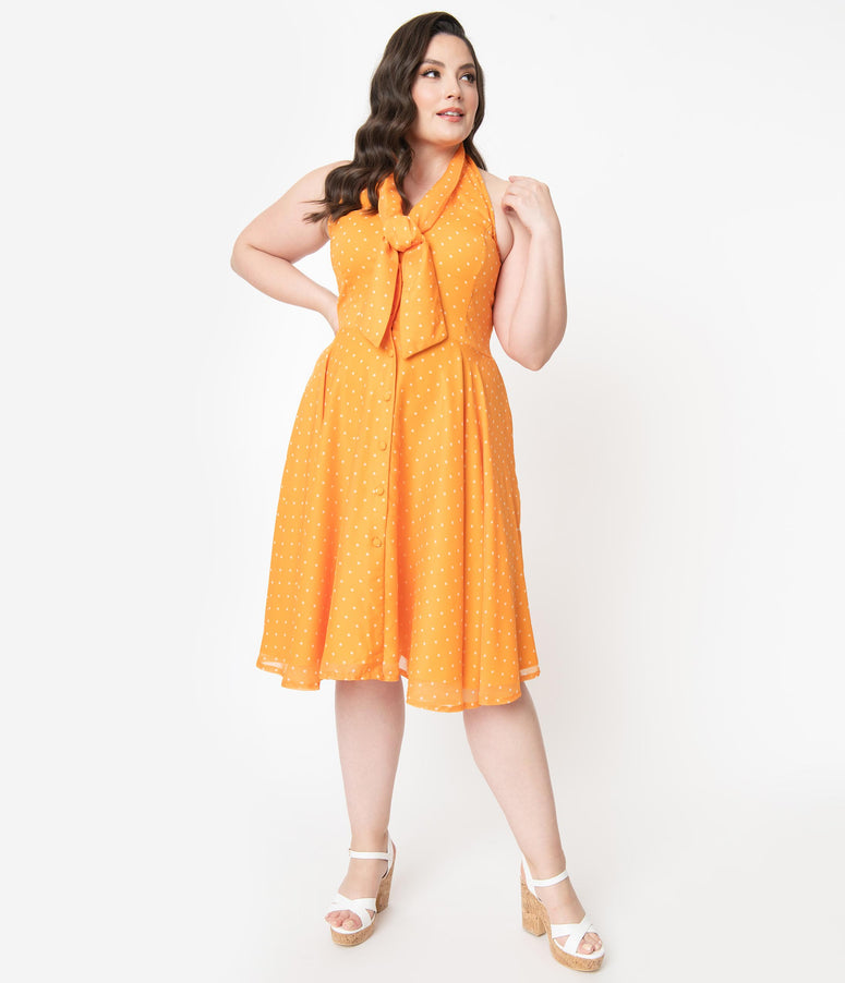 Plus Size Tangerine & Ivory Pin Dot Halter Trinity Swing Dress