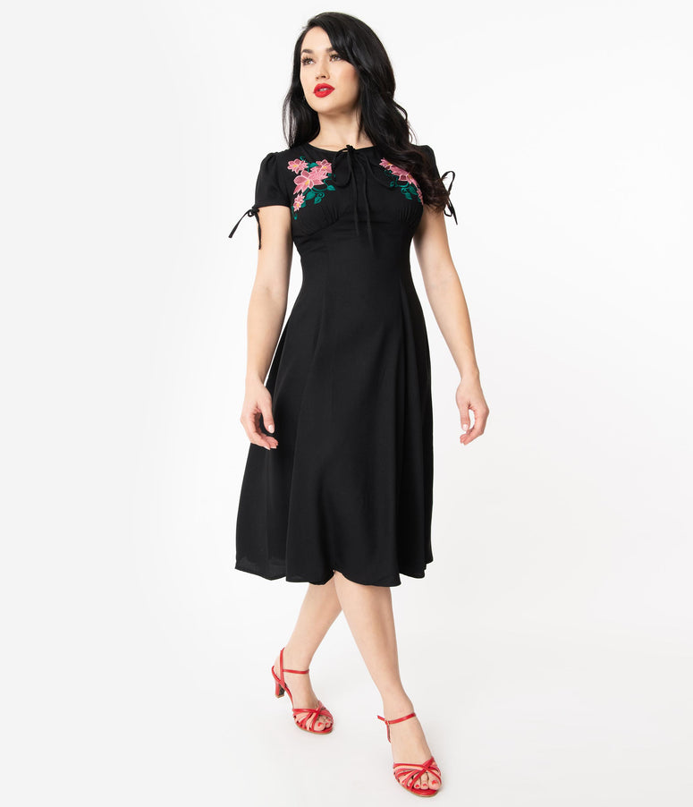 1940s Style Black & Pink Embroidered Floral Noa Swing Dress