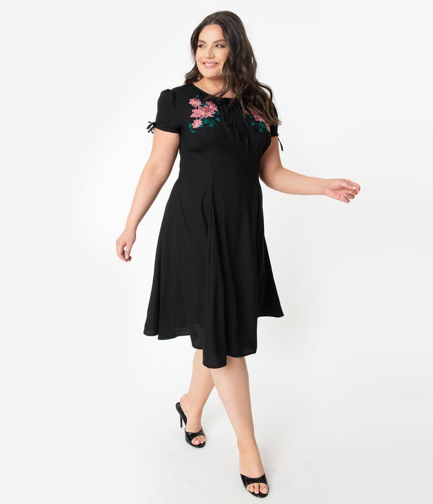 Plus Size 1940s Style Black & Pink Embroidered Floral Noa Swing Dress