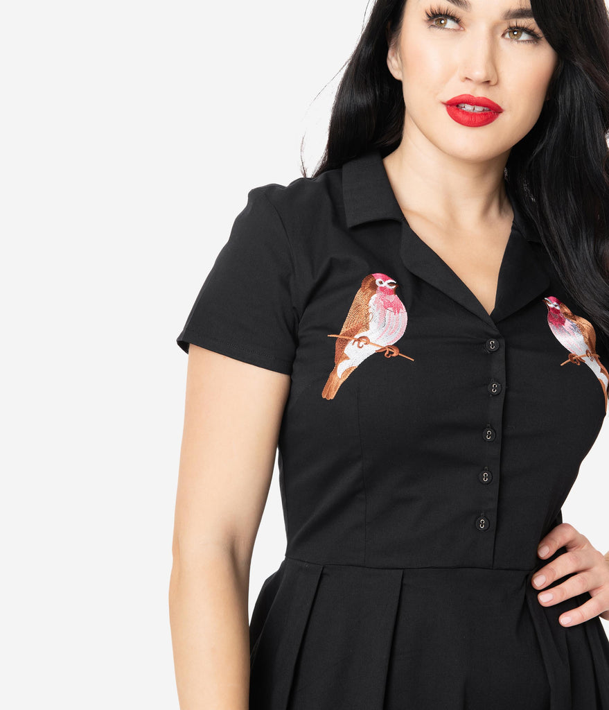 Retro Style Black Embroidered Bird Collared Swing Dress