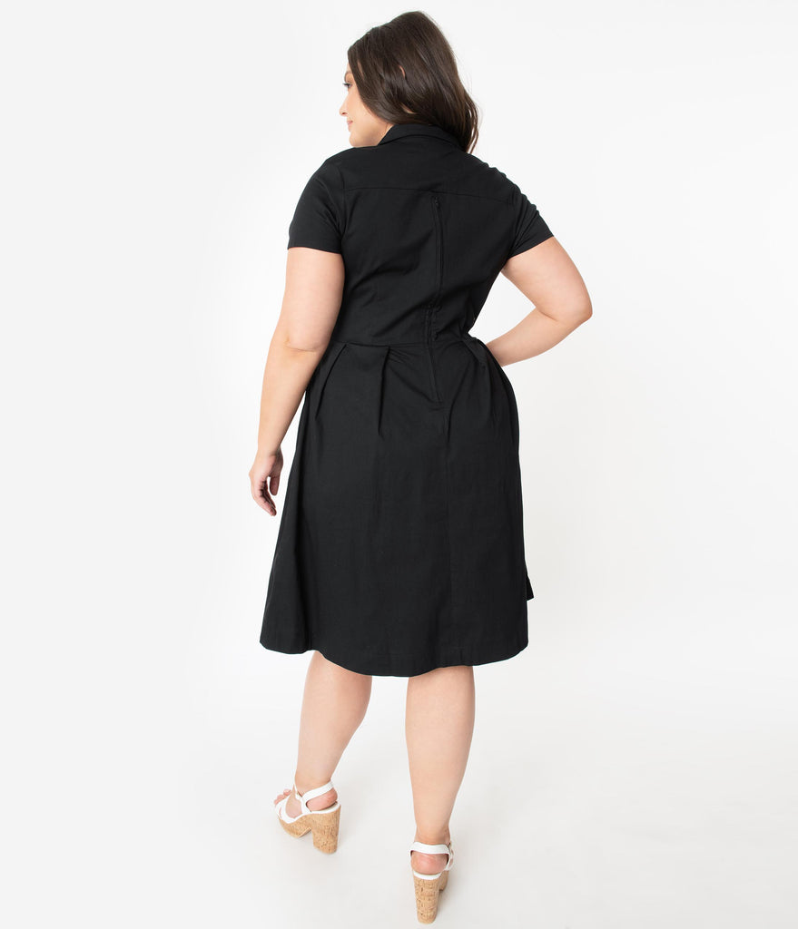 Plus Size Retro Style Black Embroidered Bird Collared Swing Dress