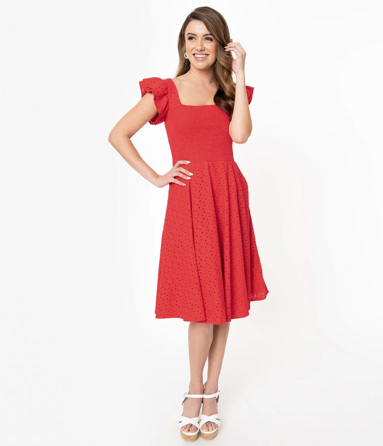 Red Eyelet Lace Smocked Raphaella Swing Dress