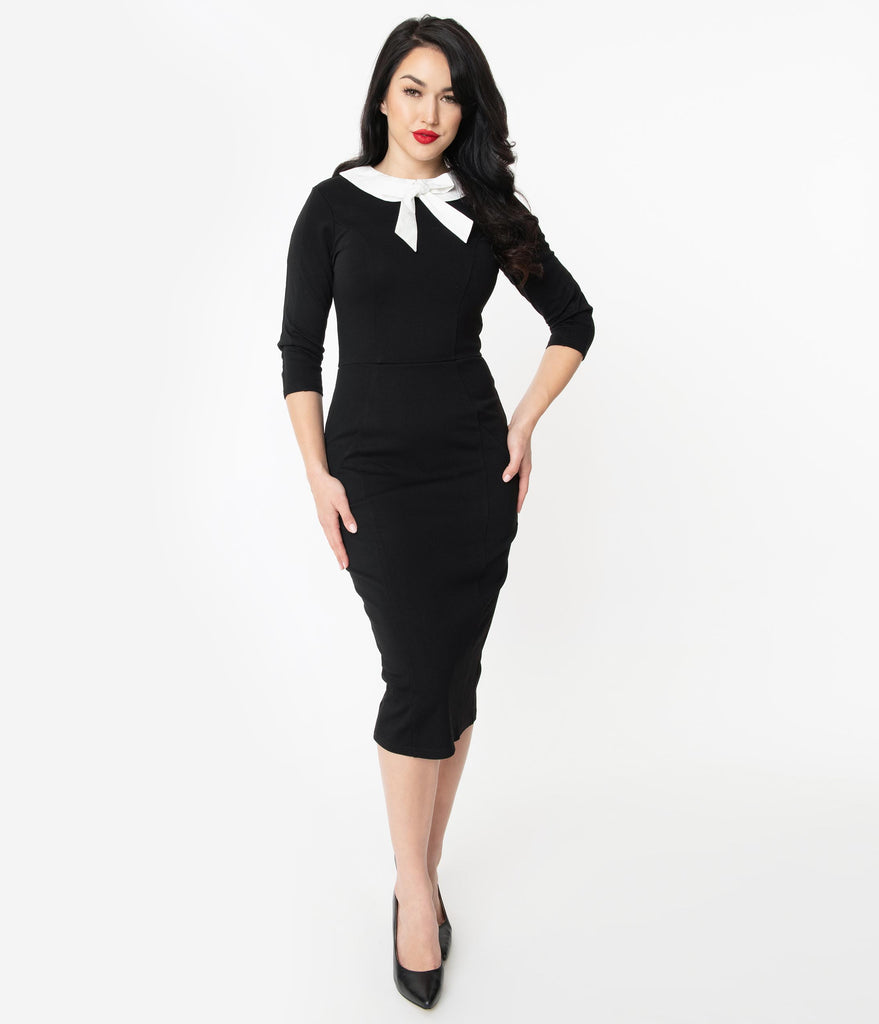 Unique Vintage 1960s Black & White Collar Abbi Wiggle Dress