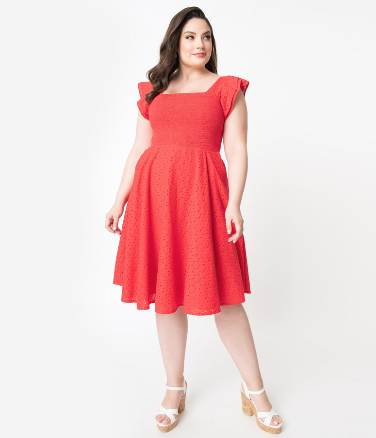 Plus Size Red Eyelet Lace Smocked Raphaella Swing Dress