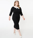 Unique Vintage Plus Size 1960s Black & White Collar Abbi Wiggle Dress
