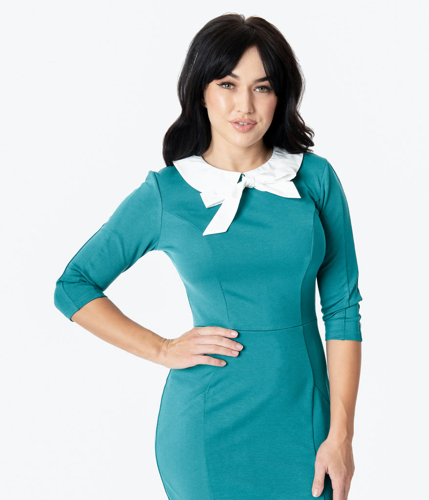 Unique Vintage 1960s Green & White Collar Abbi Wiggle Dress