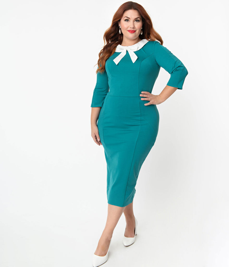 Unique Vintage Plus Size 1960s Green & White Collar Abbi Wiggle Dress