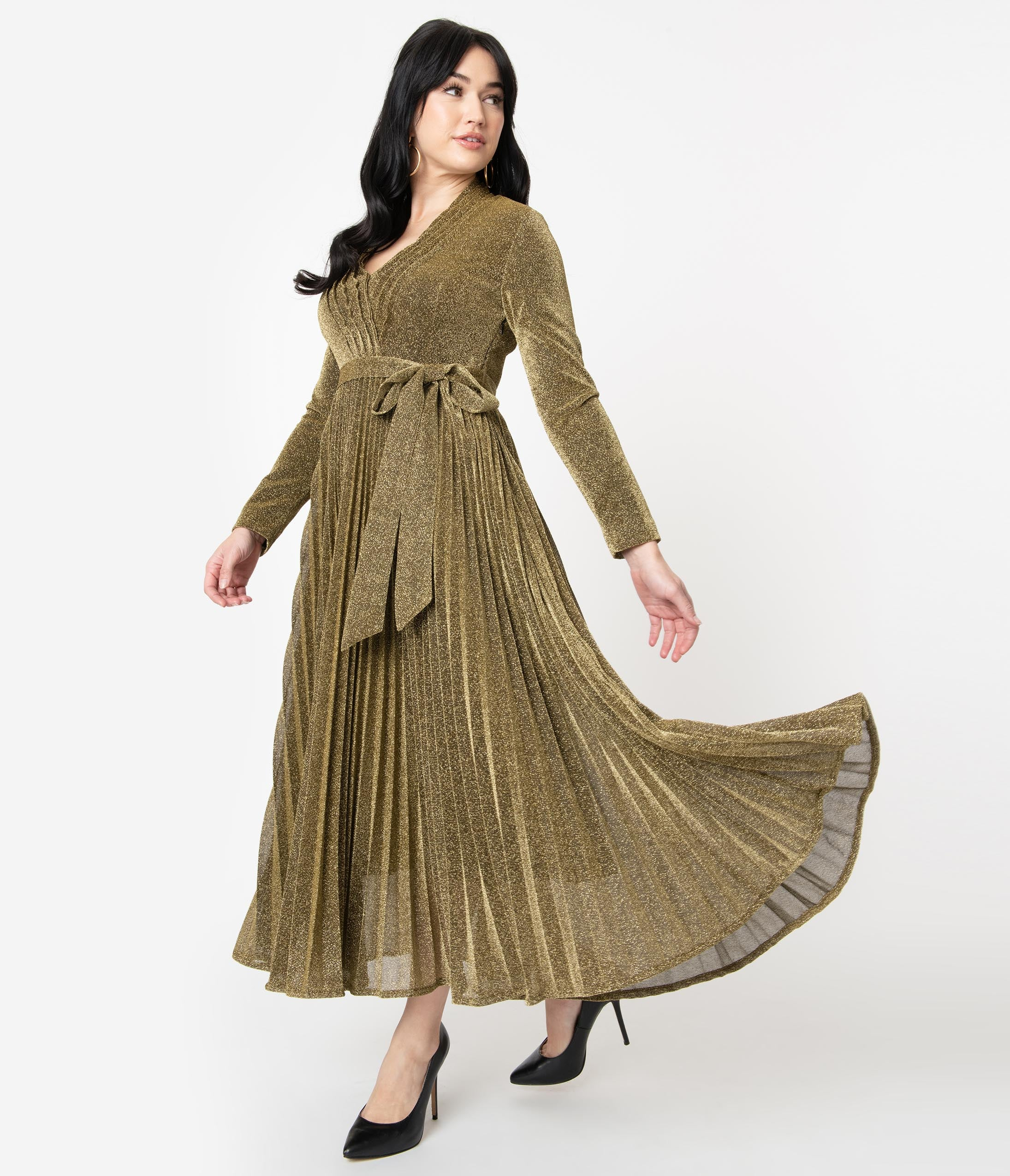 70s Prom, Formal, Evening, Party Dresses Metallic Gold Pleated Maxi Dress $88.00 AT vintagedancer.com