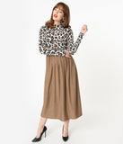 Retro Style Brown Swiss Dot Leopard Midi Dress