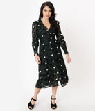 Dark Hunter Green & Ivory Polka Dot Flocked Midi Dress
