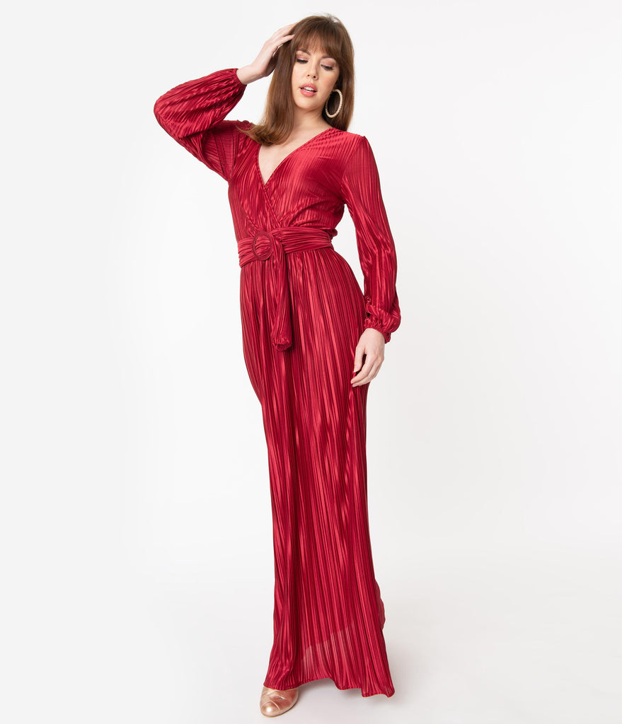 Retro Style Burgundy Pleated Maxi Dress