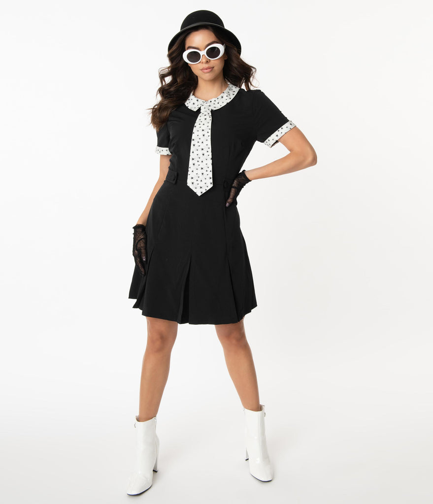 Smak Parlour Black & Spider Print Collar & Tie Madison Avenue Dress
