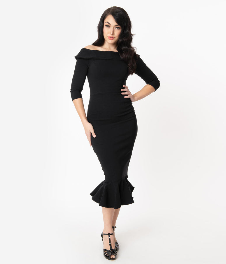 Collectif Black Orla Fishtail Wiggle Dress