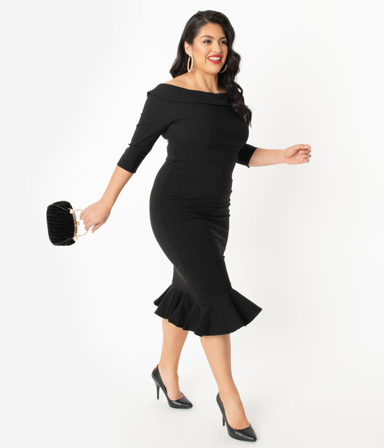 Collectif Plus Size Black Orla Fishtail Wiggle Dress