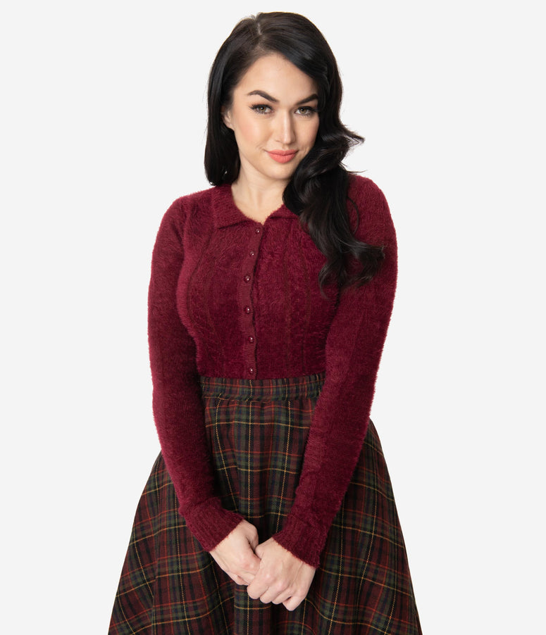 Collectif 1950s Burgundy Fuzzy Knit Cara Cardigan