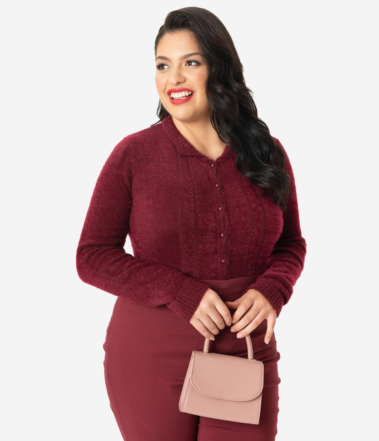 Collectif Plus Size 1950s Burgundy Fuzzy Knit Cara Cardigan