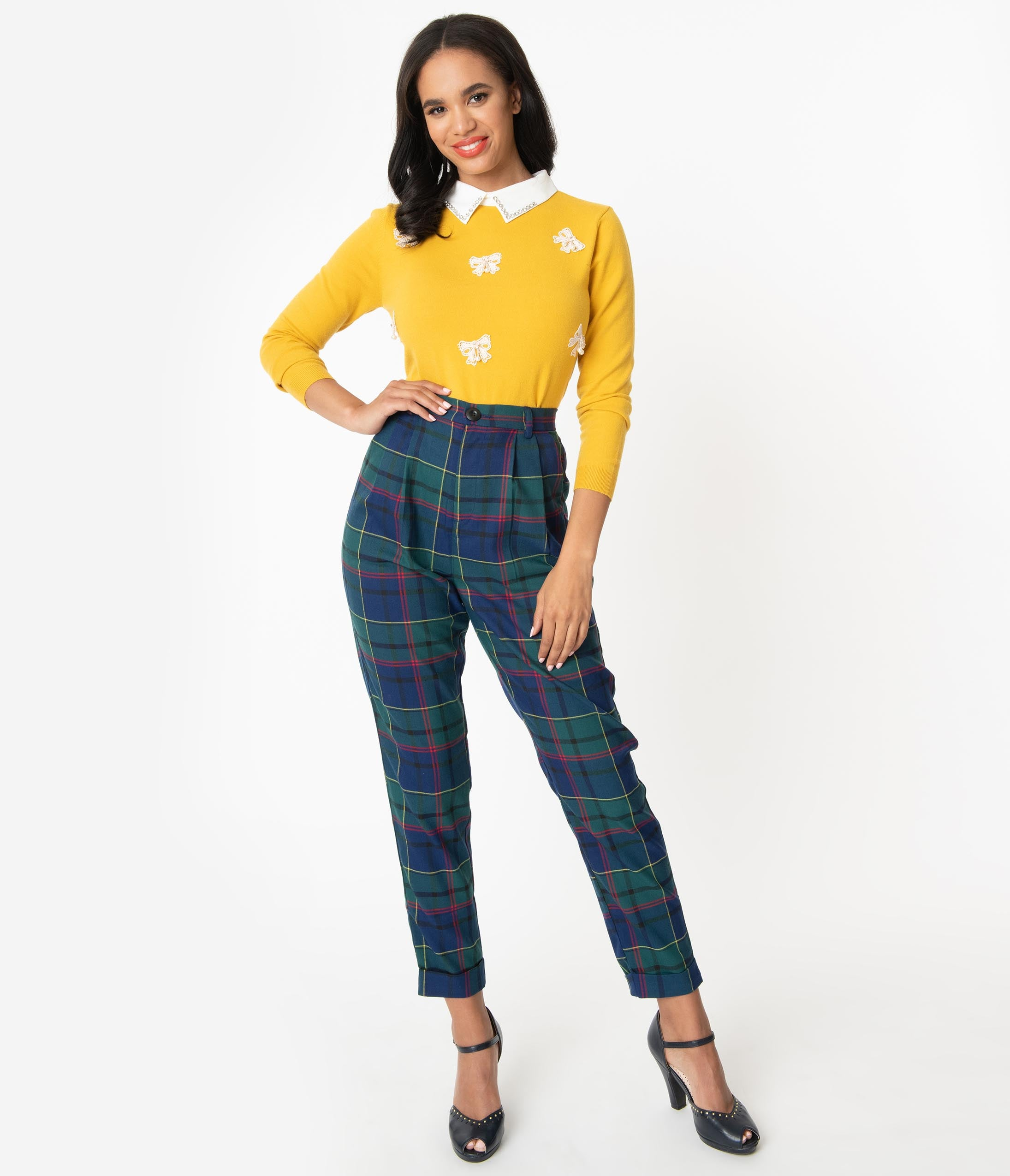 60s – 70s Pants, Jeans, Hippie, Bell Bottoms, Jumpsuits Bright  Beautiful Navy  Green Plaid Skye Scotty Cropped Pants $68.00 AT vintagedancer.com