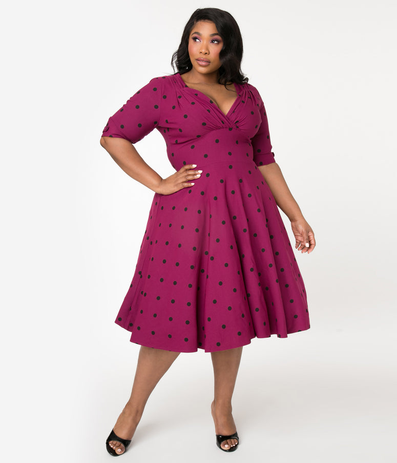 Unique Vintage Plus Size Purple & Black Polka Dot Delores Swing Dress with Sleeves