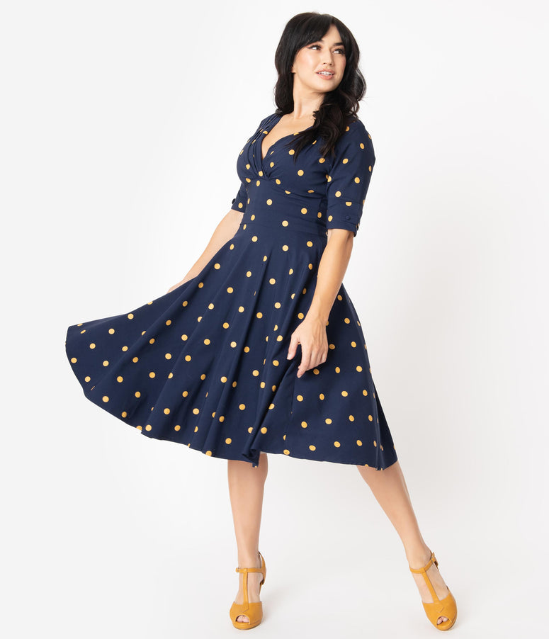 Unique Vintage Navy & Mustard Polka Dot Delores Swing Dress with Sleeves