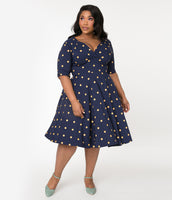 Plus Size A-line V-neck Above the Knee Polka Dots Print Natural Waistline Swing-Skirt Pleated Gathered Stretchy Vintage Banding Elbow Length Sleeves Dress